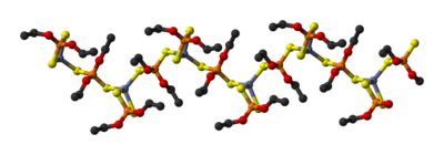 Ball-and-stick model of part of a chain in the crystal structure of zinc diethyldithiophosphate