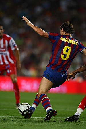Zlatan Ibrahimović - Ibrahimović playing for Barcelona in a match against Sporting Gijón in 2009