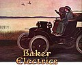 """""""Baker Electrics"""" electric automobile with two women at a lake with two ducks in flight ad detail, from- Baker-electric 1911-0515 (cropped).jpg"""
