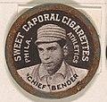 """Chief"" Bender, Philadelphia Athletics (black), from the Domino Discs series (PX7), issued by Kinney Brothers MET DP869225.jpg"