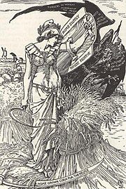 """""""HOME SUPPLY"""" """"WHEAT RESERVE"""" """"HOME GROWN CORN FOR THE PEOPLE"""" """"FAMINE"""" """"DEPENDENCE ON FOREIGN SUPPLY"""" """"MONOPOLY OF THE MEANS OF LIFE"""" 1898 art, - The art of Walter Grane (page 212 crop).jpg"""