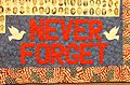 """Never Forget"" tapestry at 911 Memorial in NYC IMG 5792.JPG"