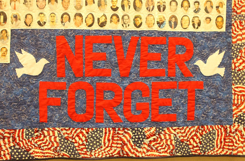 """Never Forget"" tapestry at 911 Memorial in NYC IMG 5792"