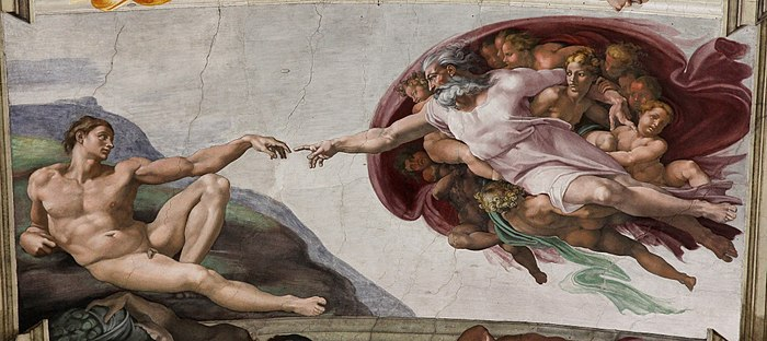 'Adam's Creation Sistine Chapel ceiling' by Michelangelo JBU33cut.jpg