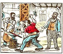 Dans La Seconde Moitie Du XIX Siecle Le Proletaire Mis En Scene Serie Dimages DEpinal Journee Est Un Aide Forgeron