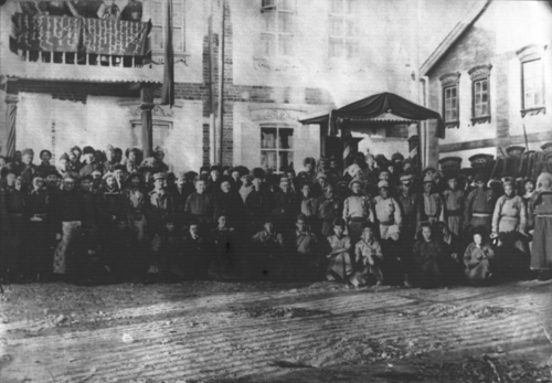 First Ulsyn Ikh Khural (State Great Assembly) which discussed and approved the first constitution, November 1924. Ankhdugaar undsen khuuliig kheleltsen batlasan Ulsyn ankhdugaar ikh khural.png