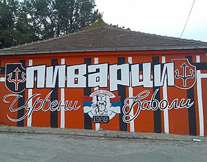 Crveni Đavoli - A graffiti of the Djavoli in Kragujevac.