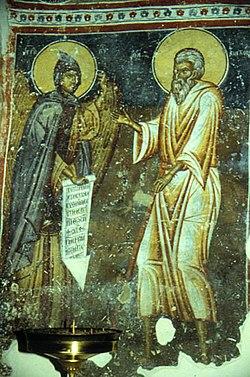 Pakhomiosz és az angyal.(Ikon, 14. század, Zrze, Macedónia)