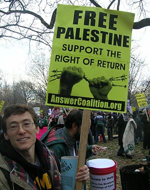 "Palestinian right of return - Protester with ""Right of Return"" poster, Washington, DC 2009"