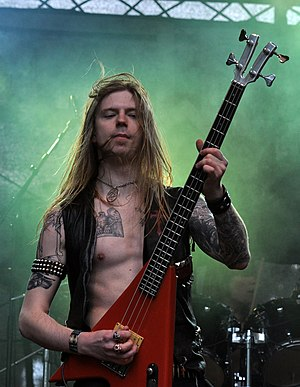 Nic Savage, bassist of the swedish metal band Steelwing, at Turock Open Air 2013