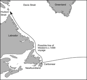William Weston (explorer) - Course of William Weston's voyage of c.1499, based on Ruddock