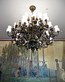 155 Casa Alegre de Sagrera (Terrassa), llum del menjador i plafó d'Alexandre de Riquer.JPG