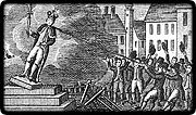 An inaccurate engraving depicting the destruction of George's statue in New York City, 1776