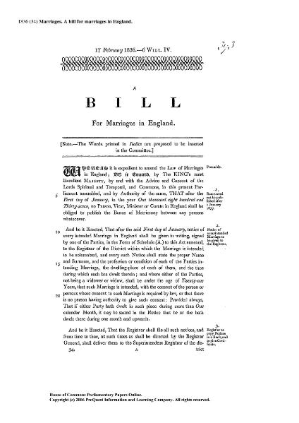File:1836 (34) Marriages. A bill for Marriages in England.djvu