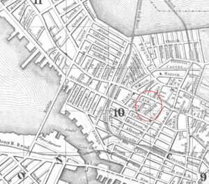 Boston Dispensary - Detail of 1850 map of Boston, showing Bennett St. and Ash St. in the South End