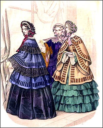 1850s in Western fashion - Fashions of 1853: Flounced skirts, cape-like jackets, and heavily trimmed bonnets.