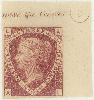Imprimatur (philately) - An imprimatur of the 1870 rose-red three halfpence stamp of Great Britain from Plate 3. In the collection of the British Postal Museum and Archive.