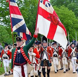 British army parade including a provincial officer with a gorget and