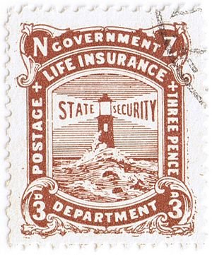 1905 NZ Government Life Insurance 3 pence brown