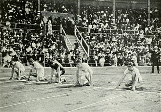 Athletics at the 1912 Summer Olympics – Men's 100 metres - The start of the final.