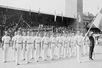 Gymnastics at the 1912 Summer Olympics – Men's team, Swedish system - Image: 1912 Sweden gymnastics team comp I
