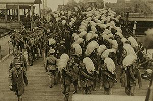 Military history of New Zealand during World War I - New Zealand troops unloading at a French port in 1918.