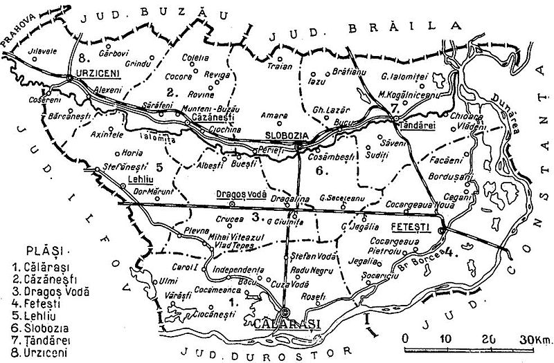 Fișier:1938 map of interwar county Ialomita.jpg