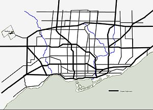 Cancelled expressways in Toronto - 1943 City of Toronto Planning Board plan to criss-cross Toronto and suburbs with highways.