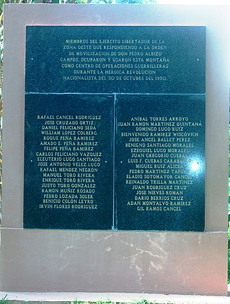 Puerto Rican Nationalist Party revolts of the 1950s - Plaque in honor of the male participants of the 1950 Jayuya (Puerto Rico) Uprising. Monument located at the Cruzados' subsection, Aguilar Ward, Mayagüez, Puerto Rico