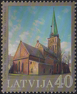 St. James's Cathedral, Riga - Image of Cathedral on Postage Stamp