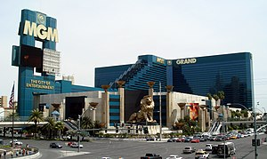 MGM Grand Las Vegas - MGM Grand, with sign promoting it as The City of Entertainment, now removed