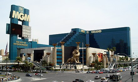 MGM Grand, with sign promoting it as The City of Entertainment 20080404-Vegas-MGMGrand-Day.jpg