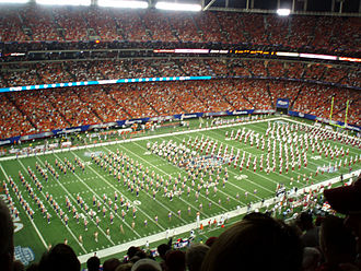 Million Dollar Band (marching band) - The MDB performs side-by-side with the Clemson marching band prior to the 2008 Chick-fil-A College Kickoff.