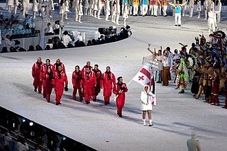 The Georgian athletes entering the stadium. 2010 Opening Ceremony - Georgia entering.jpg
