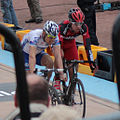 2012 Paris-Roubaix, Steve Chainel & Taylor Phinney at the finish line (6924507130).jpg