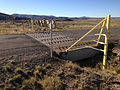 2014-09-25 08 37 09 Cattle guard at the entrance to Wild Horse State Recreation Area on Wild Horse Reservoir, Nevada.JPG