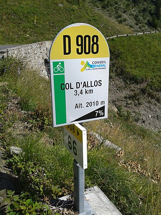 Col d'Allos - One of the mountain pass cycling milestones along the climb from Barcelonette