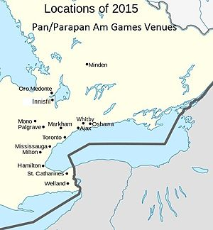 Venues of the 2015 Pan American and Parapan American Games - A map of the fifteen host cities
