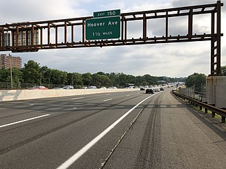 Bloomfield, New Jersey - View north along the Garden State Parkway in Bloomfield