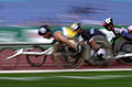 211000 - Athletics wheelchair racing 10km heat Australian athlete photographic effects 2 - 3b - 2000 Sydney race photo.jpg