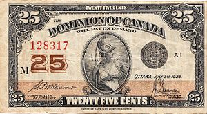 Withdrawn Canadian banknotes - 25¢ Dominion of Canada note issued in 1923