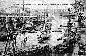 French ship Borda - Image: 29 Brest Port militaire Arrivée du Croiseur Duguay Trouin 1901