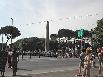 Obelisk of Axum - The Obelisk of Axum in Rome in 2002, before its repatriation.