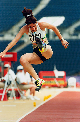 Athletics at the 1996 Summer Paralympics - Australian athlete Frances Stanley competes in the F44 long jump event at the 1996 Atlanta Paralympic Games where she finished sixth