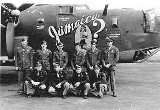 """RAF Halesworth - Crew of B-24 Liberator """"Jamaica"""". This crew flew 18 missions with the 466th BG before being transferred to the 389th BG for six missions, the 489th BG for three missions and then finishing up with the 492nd BG for the final three missions."""