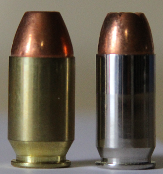 Rim (firearms) - The .50 GI (left) with rebated rim, compared to the rimless .45 ACP (right)