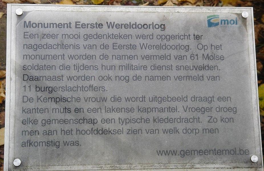 Beknopte uitleg over het Monument voor de gesneuvelden van de Eerste Wereldoorlog.