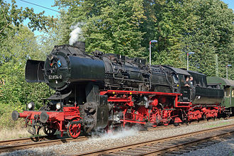 Steam engine -  A steam locomotive from East Germany. This class of engine was built in 1942–1950 and operated until 1988.