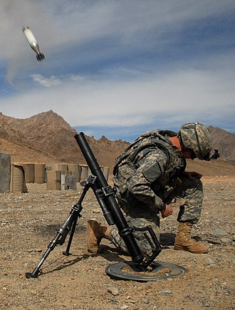 M224 mortar - Image: 60mm mortar round being launch (crop)
