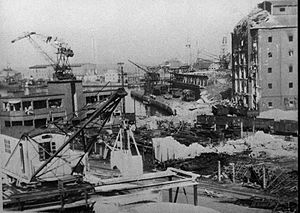 1944 explosion in Aarhus - Harbor area after explosion